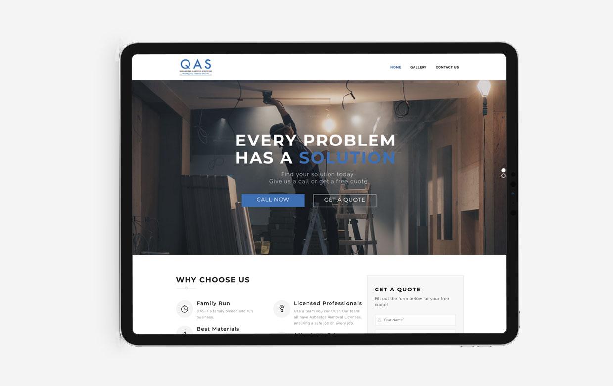 website design and branding for QAS
